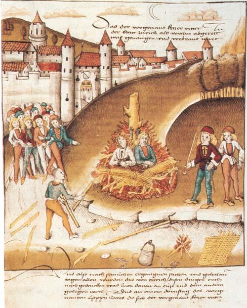 Verbrennung des Ritters von Hohenberg mit seinem Knecht vor den Mauern von Zürich (1482)