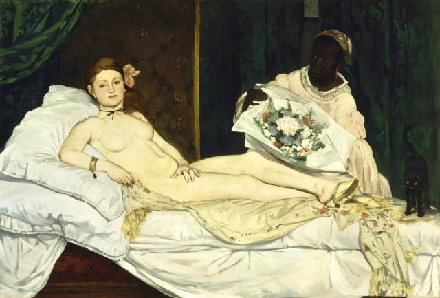 Edouard Manet, Olympia, 1863. Esta pintura fue proscrita y perseguida por el puritanismo victoriano inglés, hasta extremos psicopáticos.