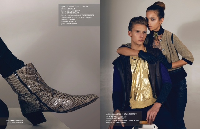 [Glosa· Gillis, abrazado por una modelo italiana Bruna Meneghetti, cuya apariencia nórdica ha sido ocultada por maquillaje. La bota da una idea de lo que el amplexo fecundo hace con Gillis, sienta como una patada a lo desechado. Fons: http://stardust-mag.com/cuir-featuring-bruna-niclas-by-wil-alexander . ]