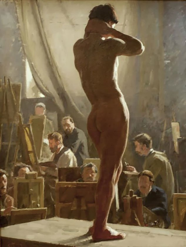 Laurtiz Tuxen, Male Nude in the Studio of Bonnat, 1877
