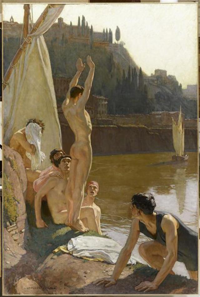 Georges Paul Leroux (1877 - 1957. France). Les Baigneurs du Tibre, 1909. Musée de Beauvais . [Badende im Tiber]