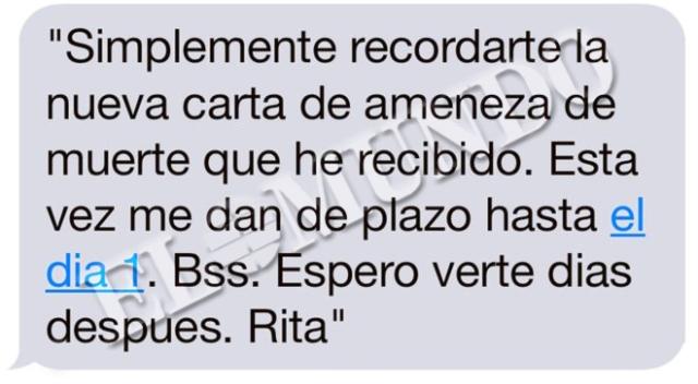 """""""El último SMS de Rita Barberá y sus 37 horas en la habitación 315"""",Crónica en """"El Mundo, Crónica"""", por JAVIER NEGRE @javiernegre10, JUAN LUIS GALIACHO @jlgaliacho, 27/11/2016 03:52 .http://www.elmundo.es/cronica/2016/11/27/5839728be2704eff2a8b4624.html ."""