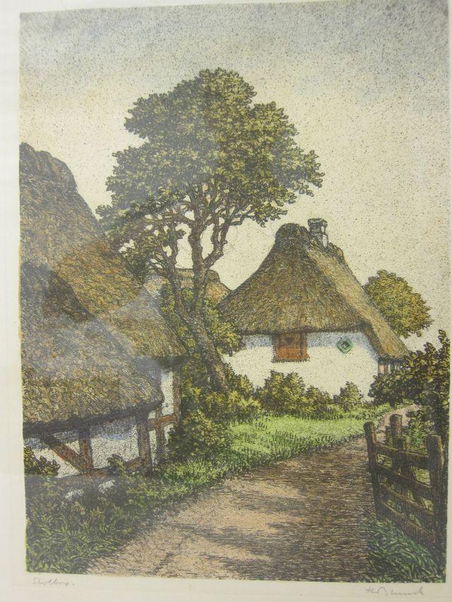 """Druck von Heinrich Blunck (1891-1963) inkl. Rahmen """"Parti fra Stolbro på Als"""", Sønderjylland Mass der Rahmen: 33,5cm x 42,5cm H. Blunck ist in Kiel geboren."""
