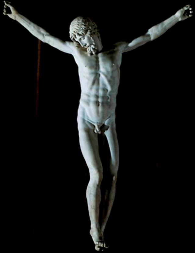 """Nuestro Dios y Señor Jesucristo crucificado, desnudo y de frente, como estuvo sobre la cruz, pura.pornografía para Valmadián, según confiesa, si se tratara de una foto del Sujeto cuya imagen se reproduce, pero algo buenísimo y castísimo, si se trata de pintura o escultura, por muy realista que sea la imagen. Estatua de Benvenuto Cellini, en el Monasterio de San Lorenzo el Real, de el Escorial, desde Su Majestad el.Ario católico de sangre germánica Felipe II von Habsburg, que Dios guarde en su Gloria. Decía: """" Prefiero no gobernar, a gobernar sobre herejes"""". No es tuyo, gorgona, es mío, es el de la Santa Inquisición y mis (no tus) colosales Santos de mi no tuyo Siglo de Oro. Y los divinos genitales de nuestro Rey de todo lo creado te los pongo por delante, a ver si revientas de horror puritano, como una vieja frígida aterrada por el pánico de que de inmediato se la viole."""