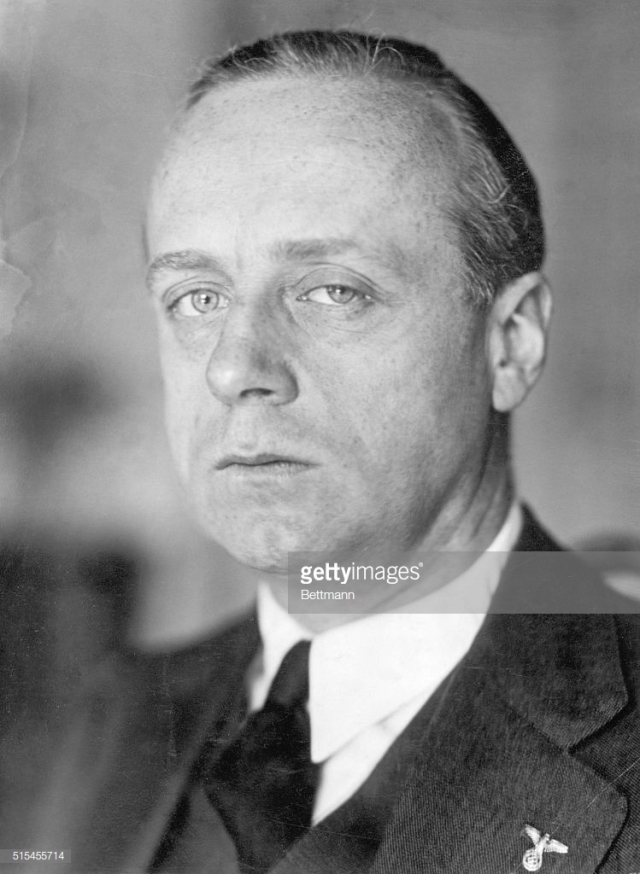 (Original Caption) Portrait of Joachim Von Ribbentrop (1893-1946), German diplomat who identified himself with Hitler's movement in 1933. He was hanged as a war criminal. Undated photograph.  Foto_fiplomática_paea_periodicis_tambien_La_Union